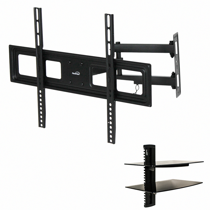 full motion tv wall mount corner swivel led lcd 42 46 48 50 55 60 65 70 shelf ebay. Black Bedroom Furniture Sets. Home Design Ideas