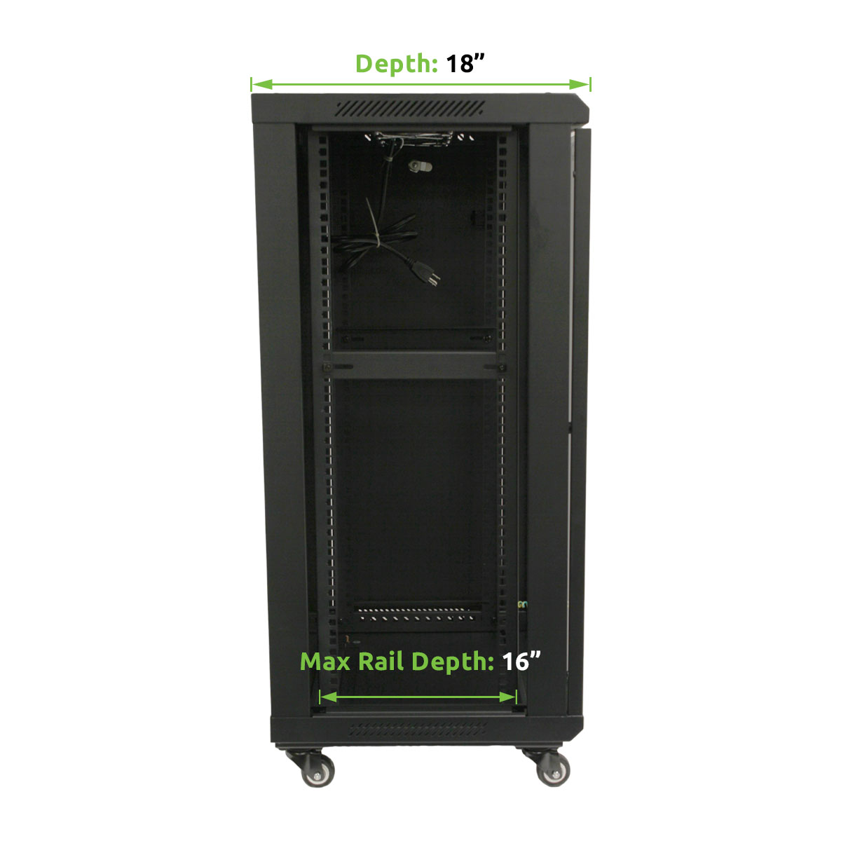 18u Wall Mount Network Server Cabinet Rack Enclosure Glass